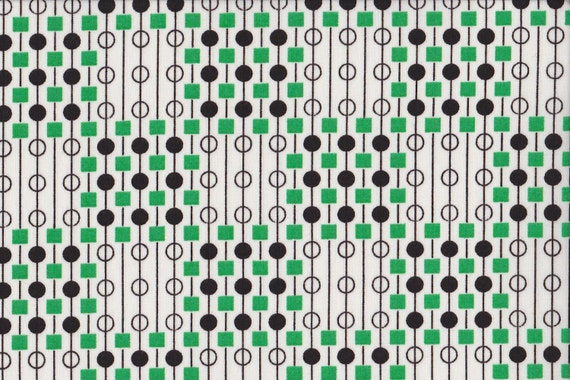 Japanese cotton fat quarter by Kei - Geodots in green and black on white