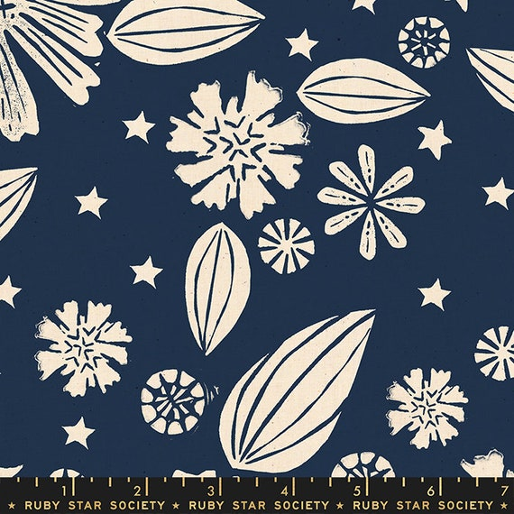 Golden Hour -- Zinnia in Navy (RS4016-12) by Ruby Star Society for Moda -- Fat Quarter