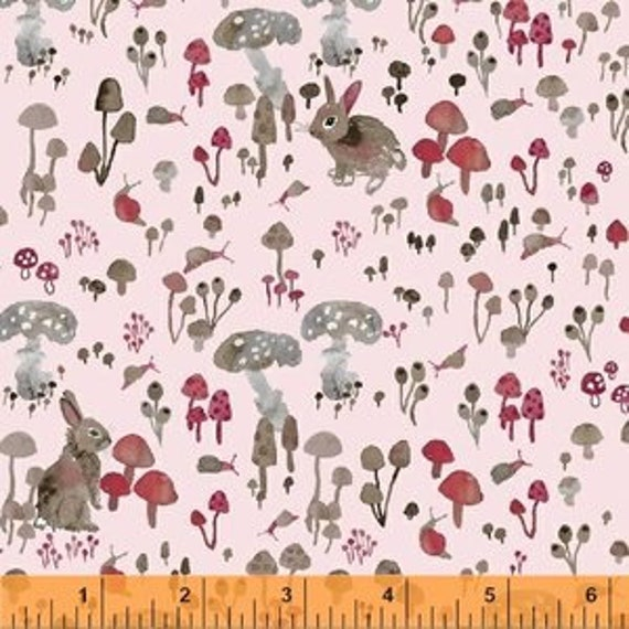 Enchanted Forest by Betsy Olmsted for Windham Fabrics - Fat Quarter of Mushroom Hideaway in Pink