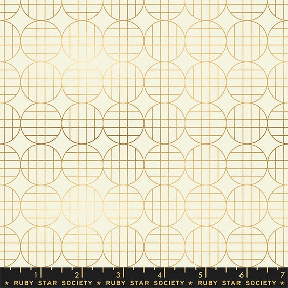 Stellar -- Ruby Star Society Fabric, RS1010-11M  Moon Grid in Metallic Gold by Rashida Coleman Hale-- Fat Quarter