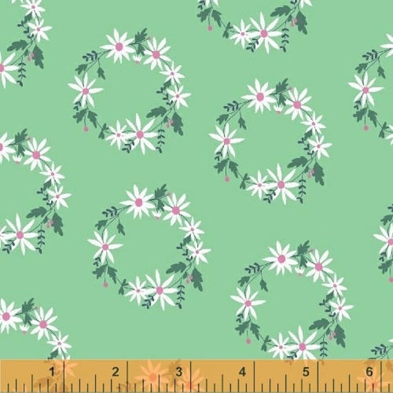 Daisy Chain by Annabel Wrigley for Windham Fabrics - Flower Crown in Mint