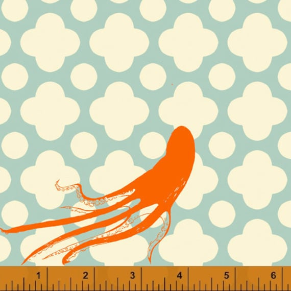 Heather Ross Mendocino for Windham Fabrics - Large Octopus in Light Blue
