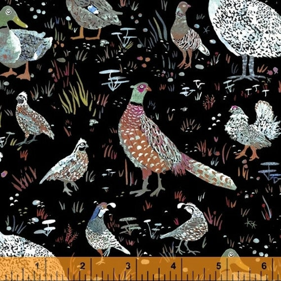 Fox Wood by Betsy Olmsted for Windham Fabrics - Fat Quarter of 51920-5 Bird Season in Black