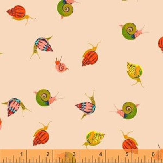 Heather Ross Sleeping Porch for Windham Fabrics - Fat Quarter Snails in Peach