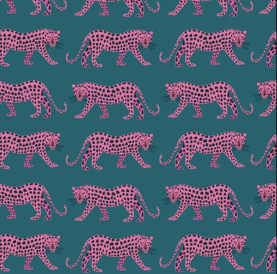 Night Jungle by Elena Essex for Dashwood Studio - Fat Quarter of Jaguars in Pink