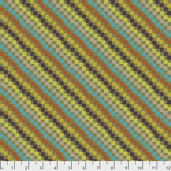 New Vintage by Kathy Doughty for Free Spirit Fabrics - Fat quarter of Tapestry Stripe in Gala