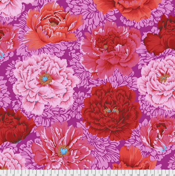 Kaffe Fassett Collective February 2021 -- Fat Quarter of Phillip Jacobs Brocade Peony in Hot
