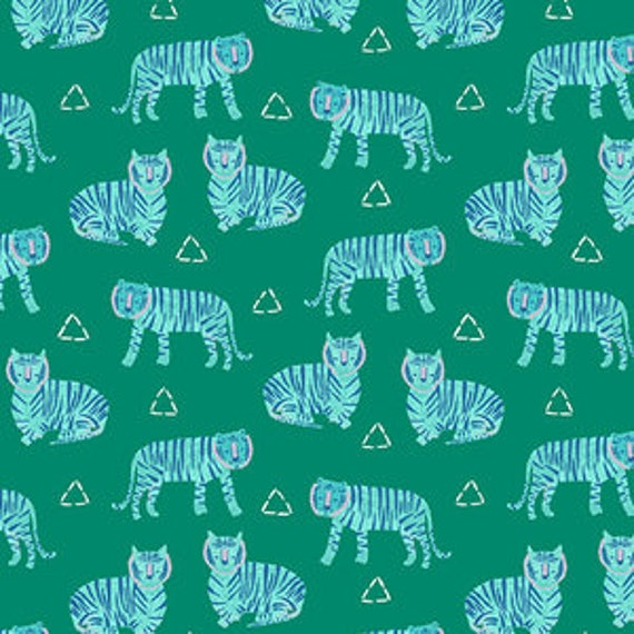 Tiger Plant by Sarah Golden for Andover Fabrics - Tigers in Opal -- Cotton/Linen - Fat Quarter