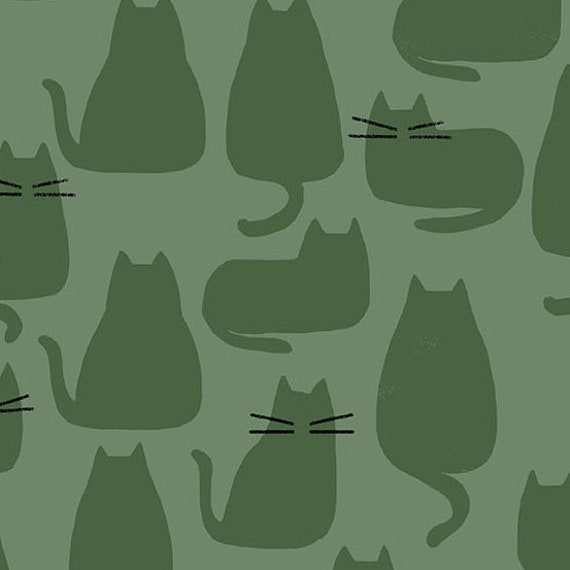 Whiskers and Dash by Sarah Golden for Andover Fabrics - Fat Quarter of Whiskers in Reed (A-9168-G)