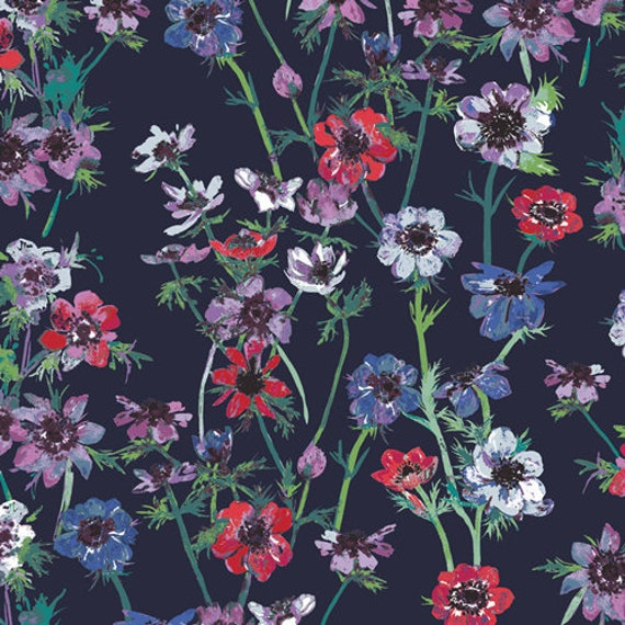 Aquarelle by Katarina Rocella for Art Gallery Fabrics - Anemone Study in Midnight