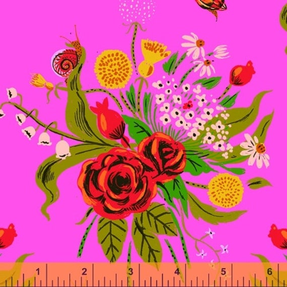 Heather Ross 20th Anniversary Collection for Windham Fabrics - Fat Quarter of Wild Flowers in Pink
