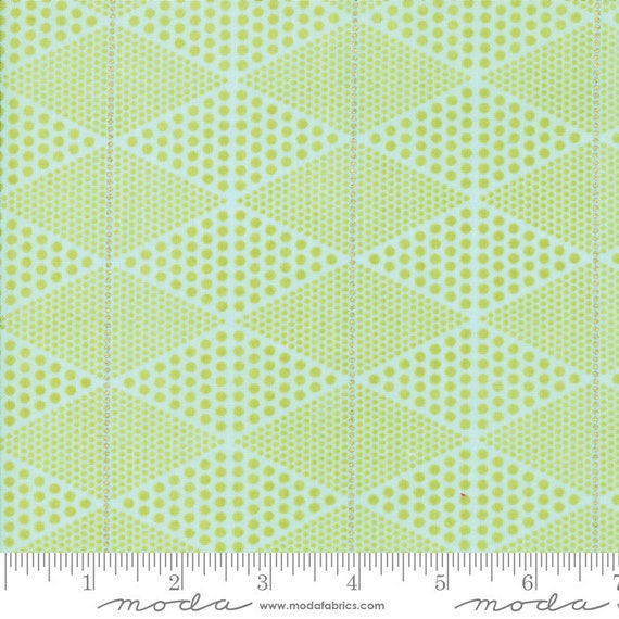 Day in Paris. -- Metallic DIamonds in Chartreuse (1684 15M) by Zen Chic for Moda -- Fat Quarter