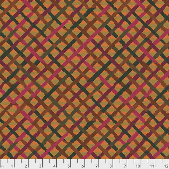 Kaffe Fassett Collective February 2020 -- Fat Quarter of Brandon Mably Mad Plaid in Rust