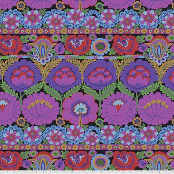 Kaffe Fassett Collective August 2021 -- Fat Quarter of Kaffe Fassett Embroidered Flower in Purple