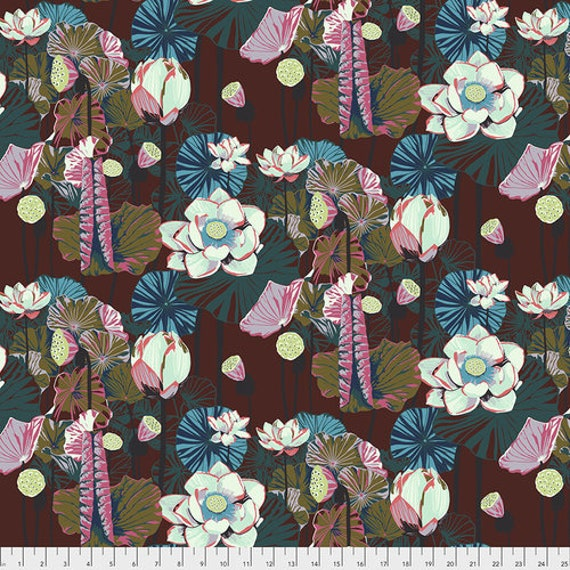 One Mile Radiant by Anna Maria Horner for Conservatory Chapter 3 with Free Spirit Fabrics- Fat Quarter of Lotus in Garnet