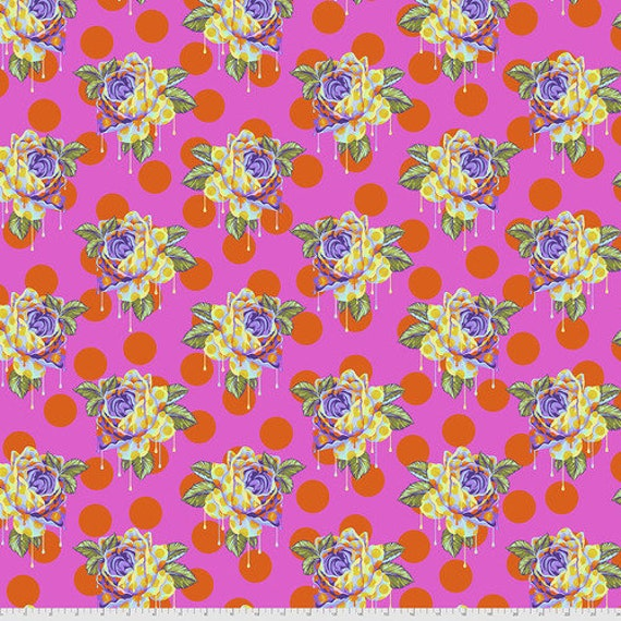 Fat Quarter Painted Roses in Daydream - Tula Pink's Curiouser and Curiouser for Free Spirit Fabrics