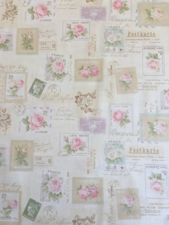 Japanese cotton fat quarter by Yuwa - Postage stamps in pastel