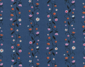 Welsummer by Kimberly Kight for Cotton and Steel -- Fat Quarter of Daisy Vines in Denim