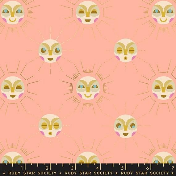 Stellar -- Ruby Star Society Fabric, RS1006-11M  Sunnymoon in Metallic Peach by Rashida Coleman Hale-- Fat Quarter