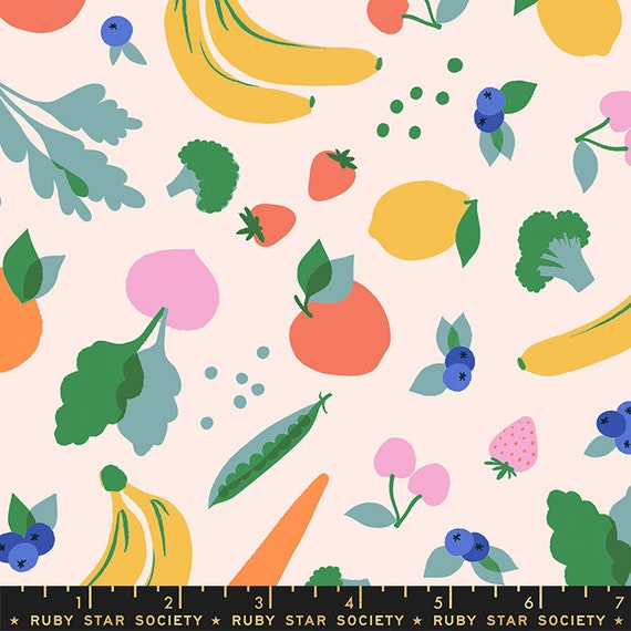 Food Group Green Grocer in Ballet (RS5037 11) by Ruby Star Society -- Fat Quarter