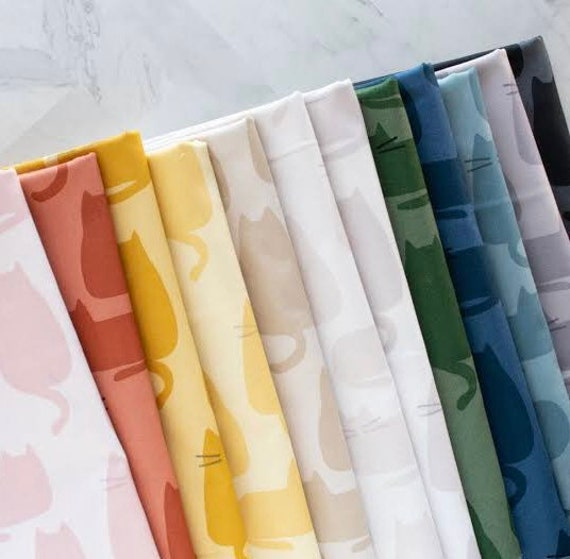 Whiskers and Dash by Sarah Golden for Andover Fabrics - Fat Quarter of Whiskers in All 12 Colours
