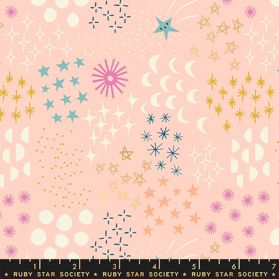 Stellar -- Ruby Star Society Fabric, RS1007-12M  Final Frontier in Metallic Pale Peach by Rashida Coleman Hale-- Fat Quarter