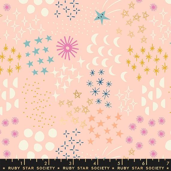 Stellar -- Ruby Star Society Fabric, RS1007-12M  Final Frontier in Metallic Pale Peach by Rashida Coleman Hale-- Fat Quarter