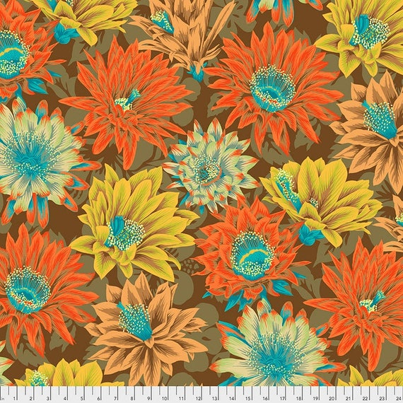 Kaffe Fassett Collective February 2021 -- Fat Quarter of Philip Jacobs Cactus Flower in Brown