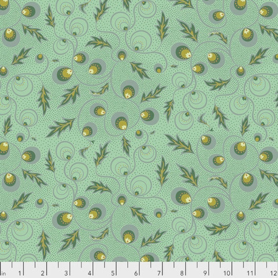 New Vintage by Kathy Doughty for Free Spirit Fabrics - Fat quarter of Passion Vine in Carribean