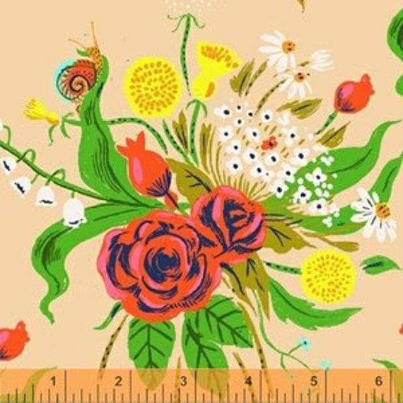 Heather Ross Sleeping Porch for Windham Fabrics -  Fat Quarter Wildflowers in Dark Blush
