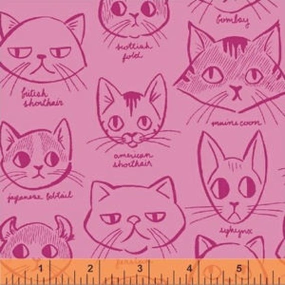 Caturday by Felice Regina for Windham Fabrics - Catitude in Pink