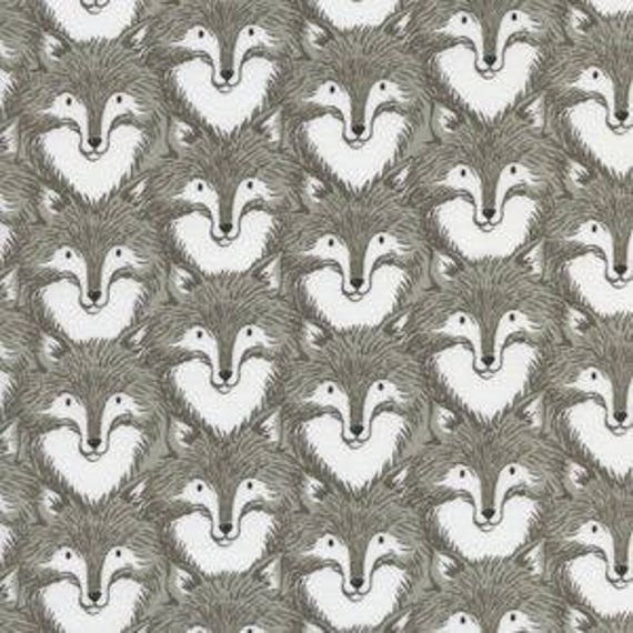 Magic Forest by Sarah Watts for Cotton and Steel - Fat Quarter- Foxes in Grey