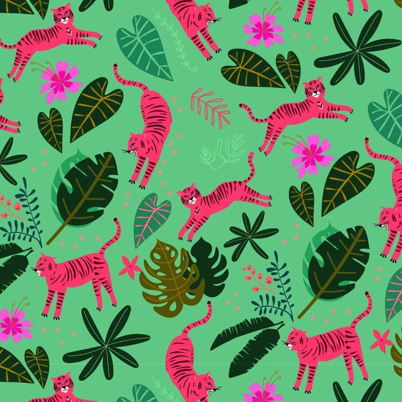 Night Jungle by Elena Essex for Dashwood Studio - Fat Quarter of Leopords in Green