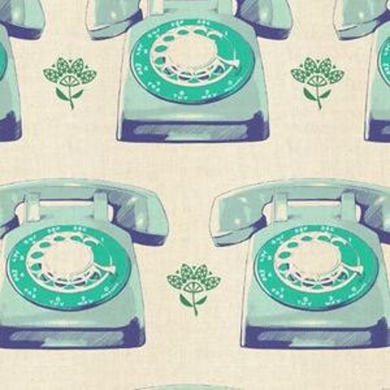 In Stock! Fat Quarter Telephones in Aqua by Melody Miller for Cotton and Steel