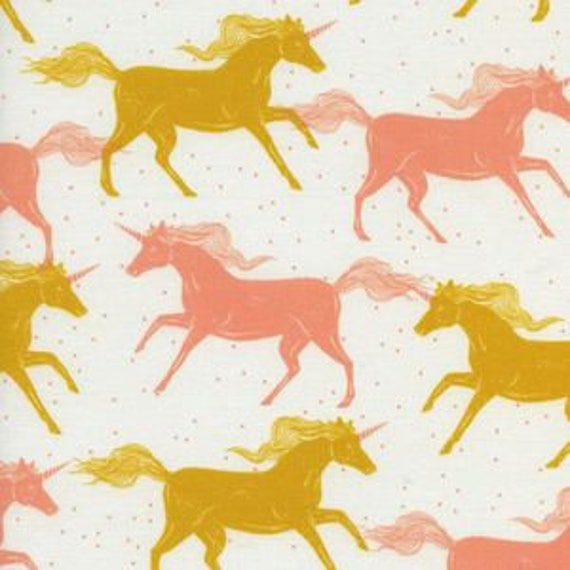 Magic Forest by Sarah Watts for Cotton and Steel - Fat Quarter- Unicorns in Yellow