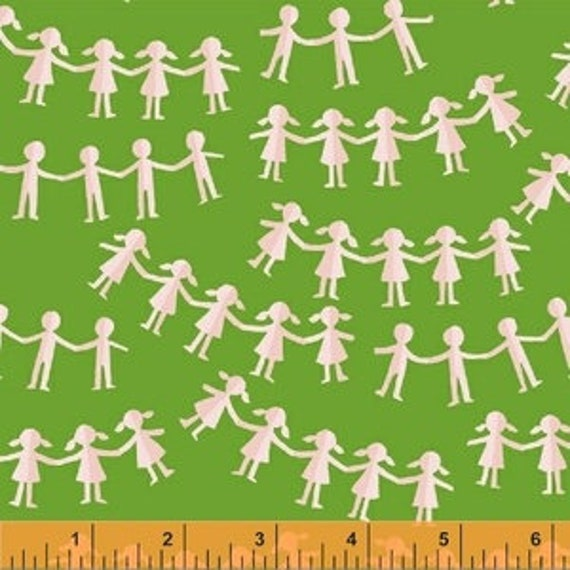 Heather Ross Kinder for Windham Fabrics - Fat Quarter Paper Dolls in Green