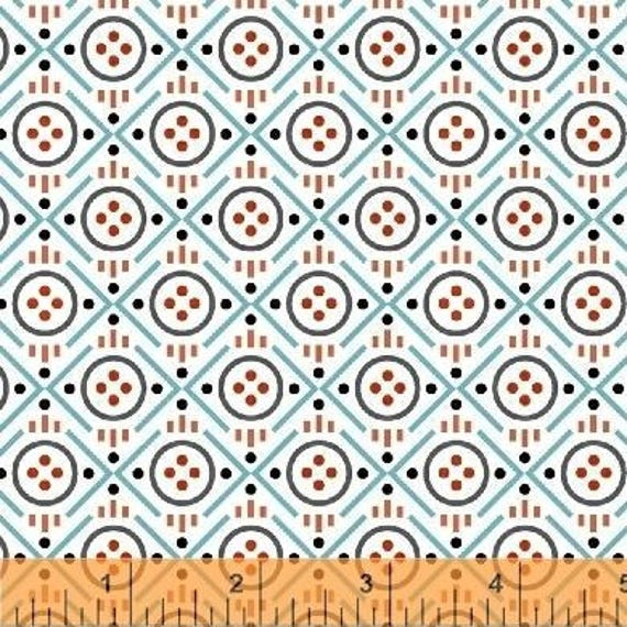 Uppercase Volume 2 by Janine Vangool for Windham Fabrics - Button in Turquoise - Fat Quarter