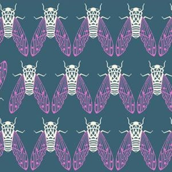 In Stock!  Fat Quarter Raindrops -- Cicada Song in Teal by Rashida Coleman-Hale for Cotton and Steel