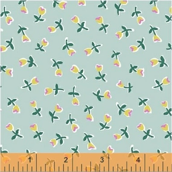 Penelope by Annabel Wrigley for Windham Fabrics - Mini Buds in Seafoam