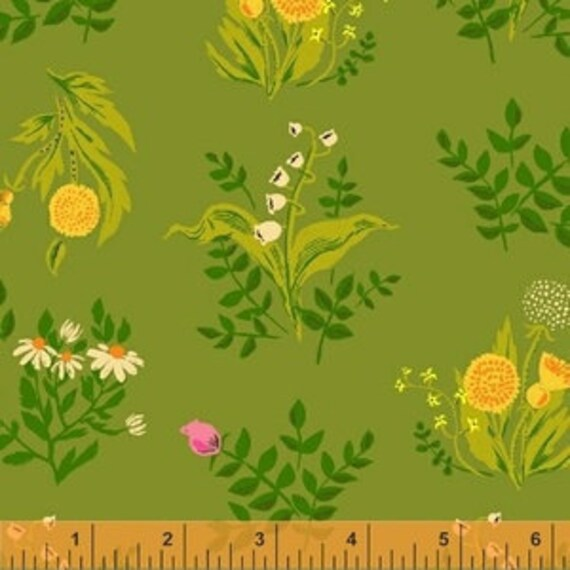 Heather Ross Sleeping Porch for Windham Fabrics - Fat Quarter Bouquet in Olive