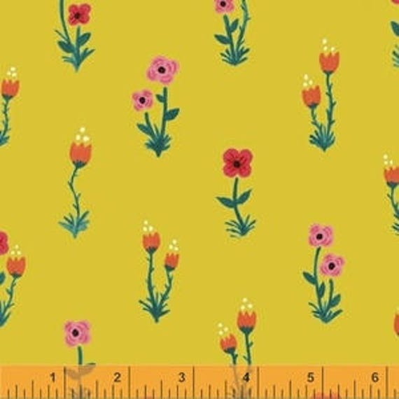 Meriwether by Amy Gibson for Windham Fabrics - Folk Fleur in Golden Delicious - Fat Quarter