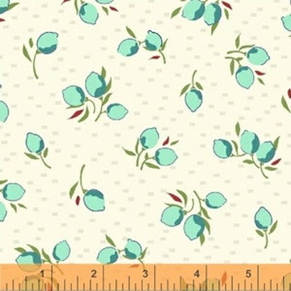 Hello Jane by Allison Harris for Windham Fabrics - Blossom in Aqua - Fat Quarter