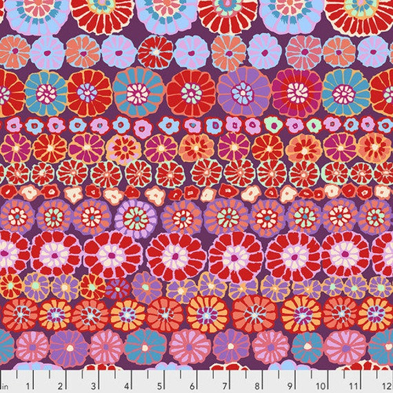 Kaffe Fassett Collective Fall 2018 -- Fat Quarter of Kaffe Fassett Row Flowers in Red