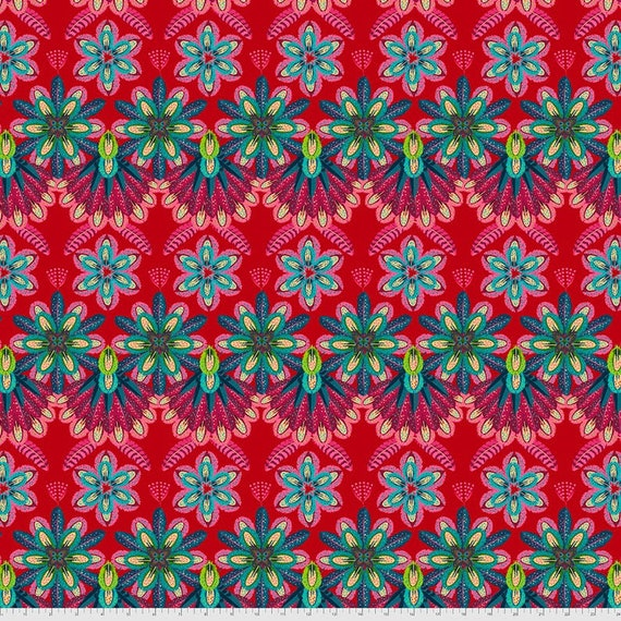 Magi Country by Odile Bailloeul for Free Spirit Fabrics - Fat quarter of Plumettes in Rouge