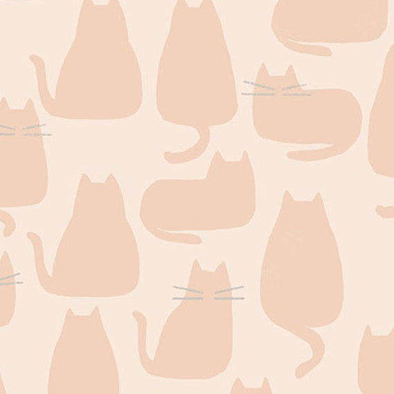 Whiskers and Dash by Sarah Golden for Andover Fabrics - Fat Quarter of Whiskers in Pale Pink (A-9168-LE)