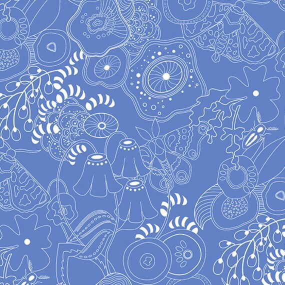 Hopscotch Century Prints by Alison Glass for Andover Fabrics - Fat Quarter of Grow in Bluebell
