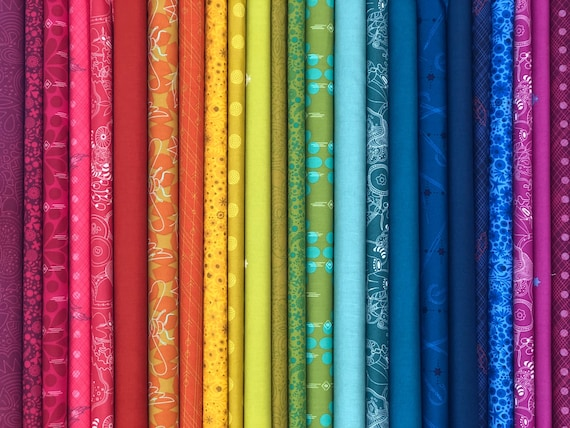 Alison Glass Rainbow Fat Quarter Bundle as shown in photo (24 in total)