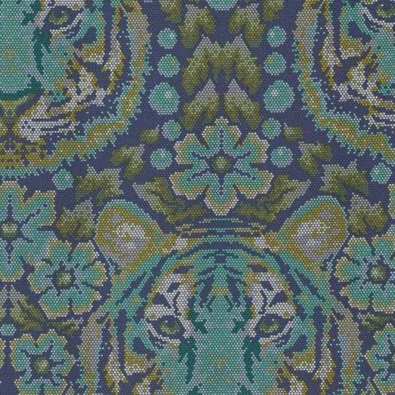 Fat Quarter Crouching Tiger in Sapphire   - Tula Pink's Eden Fabric for Free Spirit Fabrics