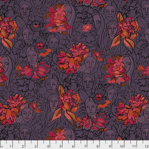 Long Distance by Courtney Cerruti for Anna Maria Horner Conservatory with Free Spirit Fabrics - Fat Quarter of Parlant Aux Fleurs in Zinnia