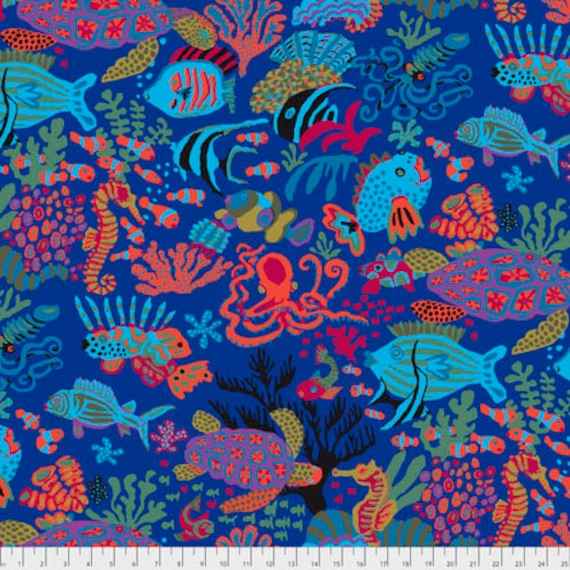 Spring 2018 Kaffe Fassett Collective  -- Fat Quarter of Scuba in Blue